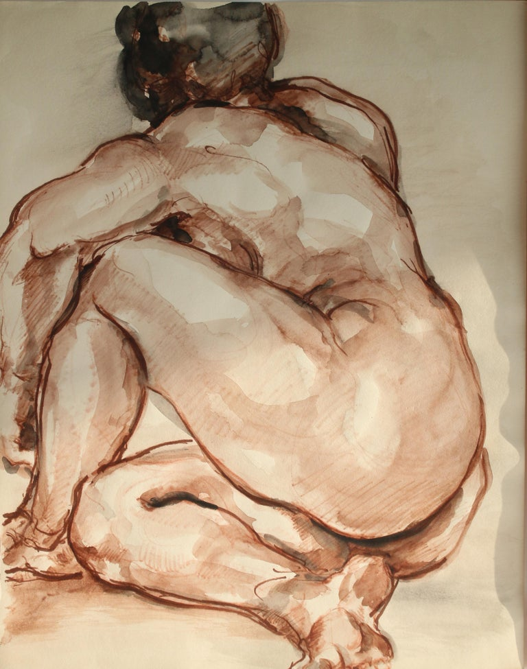 Unknown Figurative Art - Untitled: Left Side Seated Nude