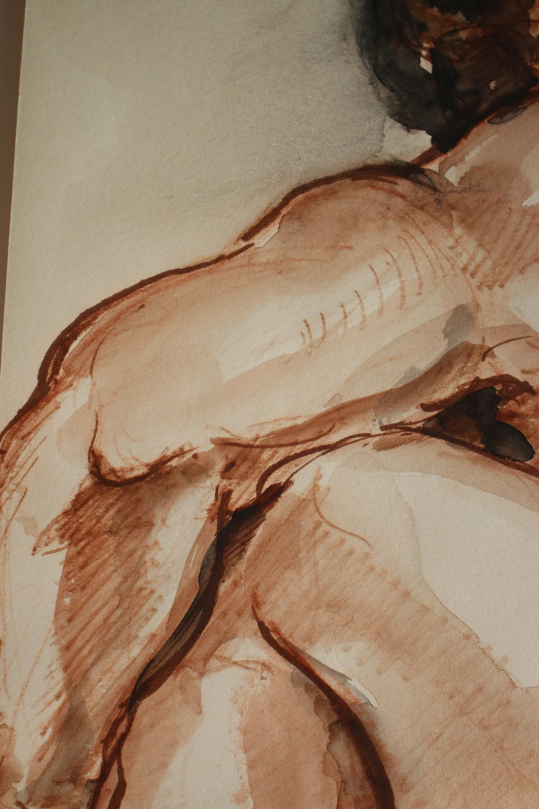 Untitled: Left Side Seated Nude  - Academic Art by Unknown