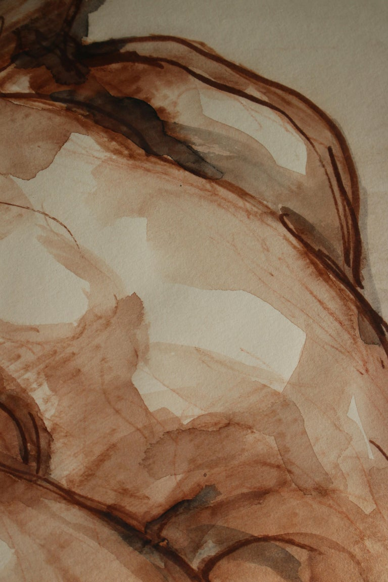 Untitled: Left Side Seated Nude  - Beige Figurative Art by Unknown