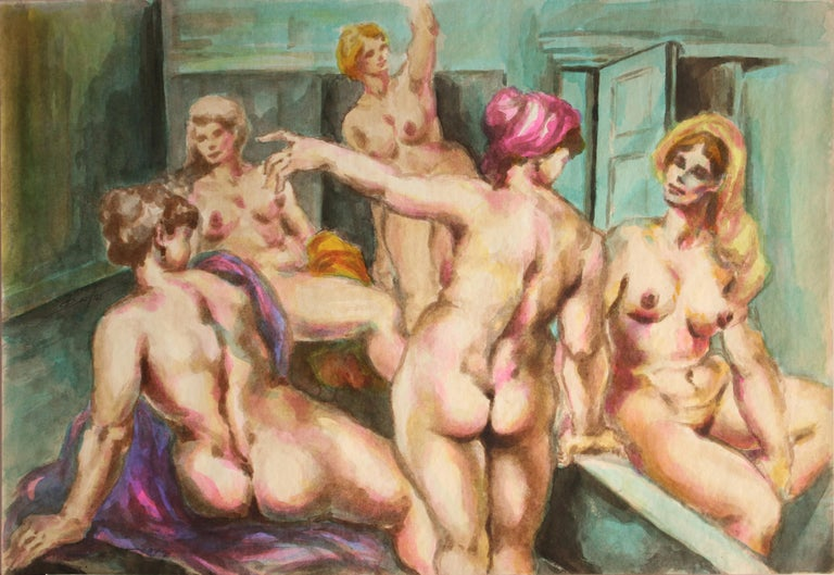 """Unknown/Unidentified Artist, """"Untitled: Women In Bath"""", Signed Figurative/ Nude Watercolor, Charcoal (Mixed Media) Painting on Paper, 14 x 17, Late 20th Century, 1967  Colors: Black, Brown, Orange, Yellow, Turquoise, Green, Purple  A leisurely"""