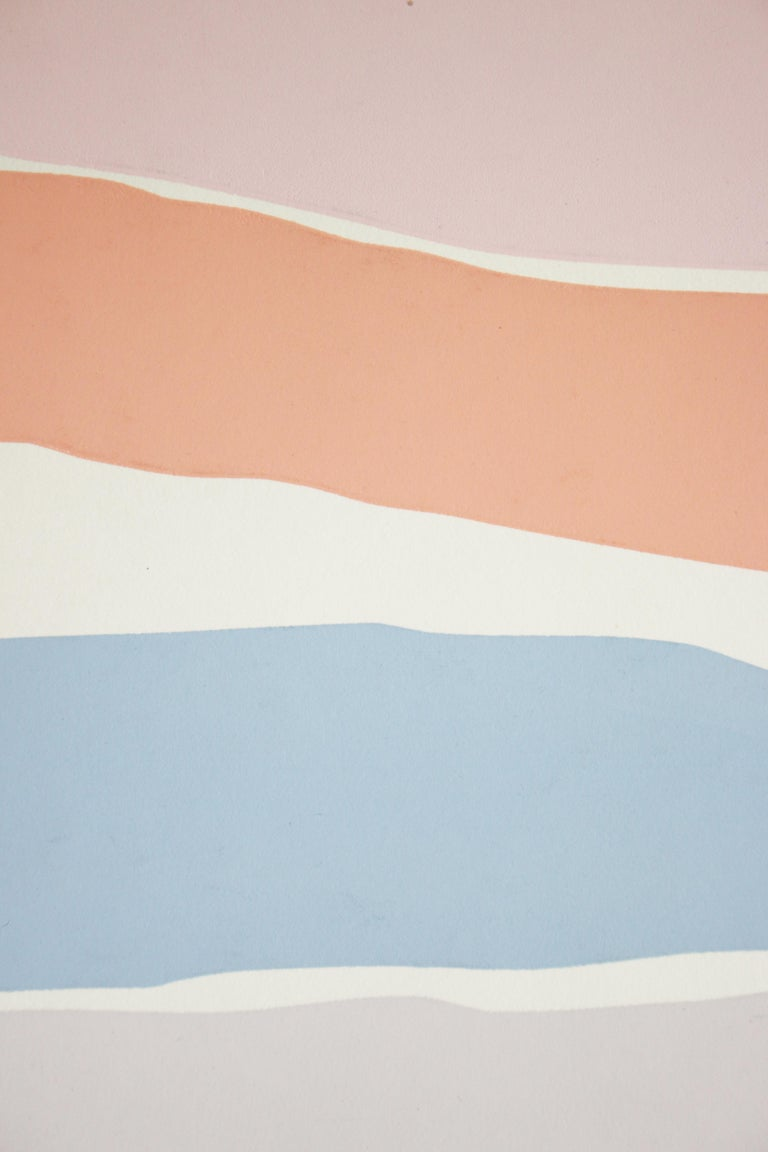 Untitled: Lavender, Blue & Pink Serigraph (Edition 303/350) - Abstract Geometric Print by Santoro
