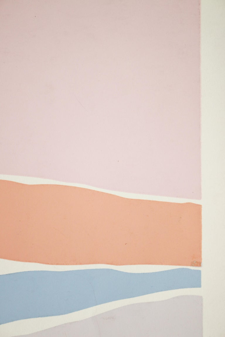 Untitled: Lavender, Blue & Pink Serigraph (Edition 303/350) - Gray Abstract Print by Santoro