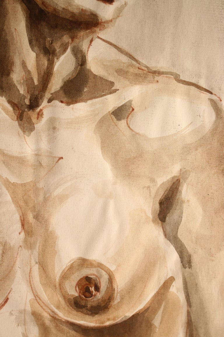 Untitled: Front Nude Watercolor - Brown Figurative Art by Unknown