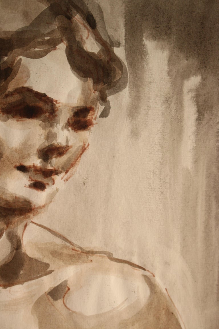 Untitled: Front Nude Watercolor For Sale 4