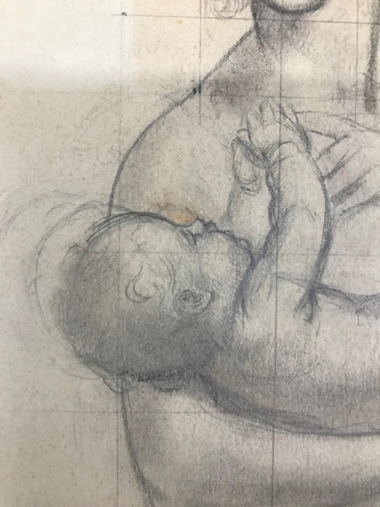 Untitled (Mother Holding Baby) - Gray Portrait by John Gilroy
