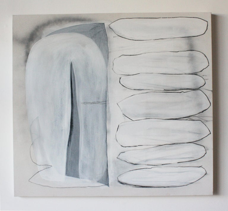 Seven Suitors - Gray Abstract Painting by Lindsy Davis