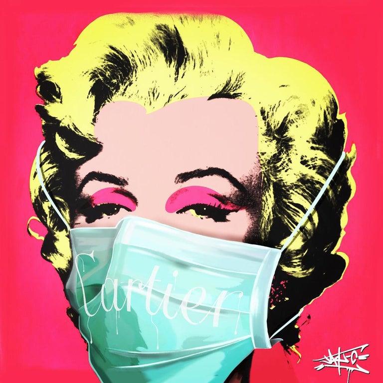 Jay-C Portrait Print - Social Status in Corona times I, Marilyn Monroe, Street Art, Pop Art,