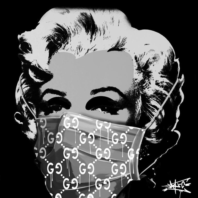 Jay-C Portrait Print - Social Status in Corona times III, Marilyn Monroe, Street Art, Pop Art,