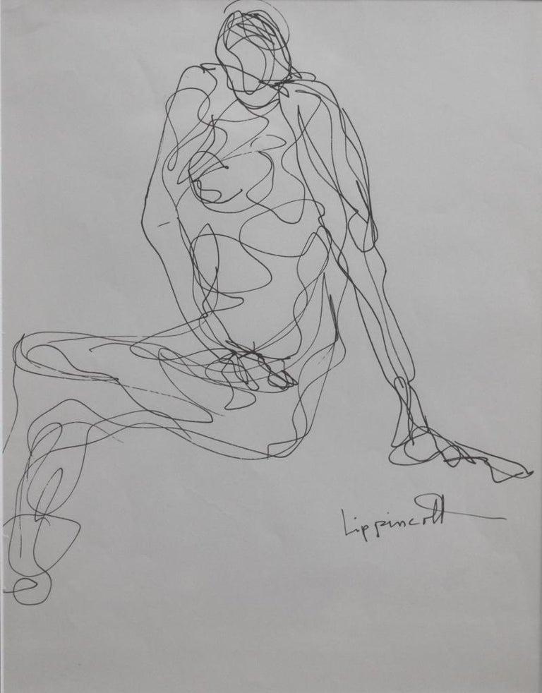 "Janet Lippincott Nude - ""NUDE""  INK DRAWING  SANTA FE NUDE"