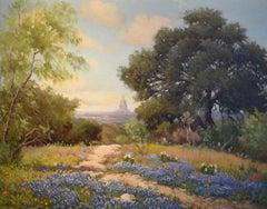 """""""Capitol of Texas in Blue""""  Oak Trees, Bluebonnets Native Texas scene"""