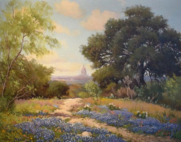 "Bette Lou Voorhis Landscape Painting - ""Capitol of Texas in Blue""  Oak Trees, Bluebonnets Native Texas scene"