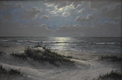 TEXAS COAST POSSIBLY BIG SHELL AREA NOCTURNAL SEASCAPE  MOONLIT SURF