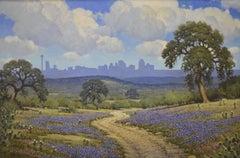 """""""San Antonio Skyline in Bluebonnets""""  Texas landscape"""