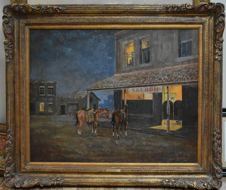 "Jim Dooley Animal Painting - ""Late Night at the Saloon""  Texas Cowboy Western"