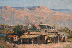 Pair Early New Mexico Landscapes with Structures Heavy Impasto Galveston Artist