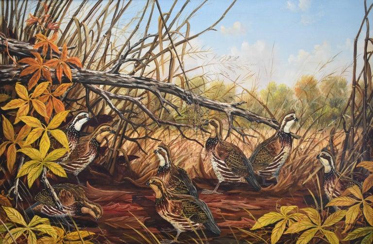 "J. W. Thrasher Animal Painting - ""The Gathering Spot""  Covey of Quail"