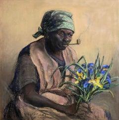 """""""Dolly - Flower Woman"""" ELDERLY BLACK AFRICAN AMERICAN FLOWER VENDOR SMOKING PIPE"""