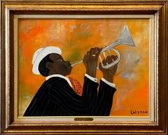 """JAZZ MAN""  BLACK FOLK ART JAZZ TRUMPET BLACK ORANGE WHITE LILA COCKRELL'S COLLE"