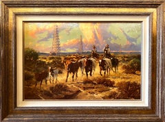 """TEXAS GOLD""  LONGHORNS AND OIL DERRICKS AND COWBOYS"