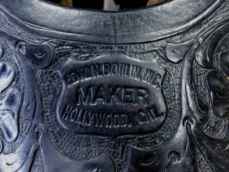 Edward Bohlin silver mounted parade saddle.  14 inch seat.  Black.  Great Bohlin Stamp.  Cowboy Saddle, Western Saddle.  1930s his most desirable period.  Bohlin of Hollywood California.  He made all of the saddles and other related western gear for