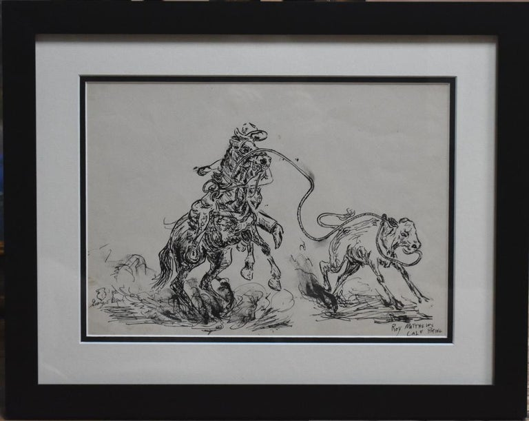 """George """" Pepper """" Brown Landscape Art - """"Roy Matthews Calf Roping""""  Famous 1930s/40s Rodeo Rider"""