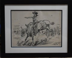 """Jim Whiteman Riding a Bull""  Rodeo Champion Late 30s Early 40s"