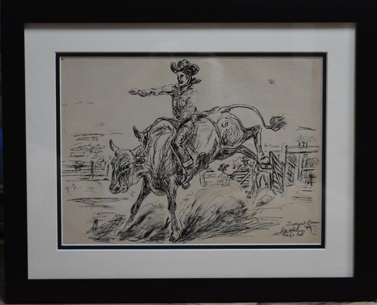 """George """" Pepper """" Brown Animal Art - """"Jim Whiteman Riding a Bull""""  Rodeo Champion Late 30s Early 40s"""
