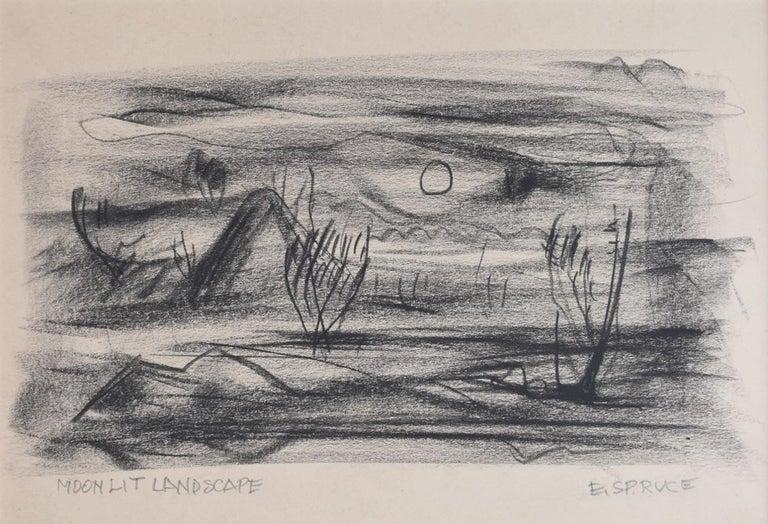 "Everett Spruce Landscape Art - ""Moonlit Landscape""  Texas"