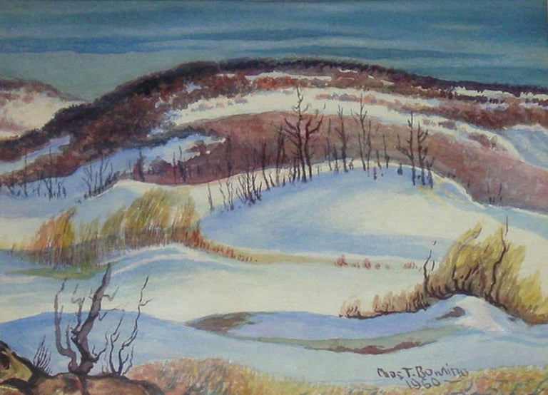"""Charles Bowling Landscape Art - """"Winter In The Hills""""  Texas Hill Country Snow Scene"""