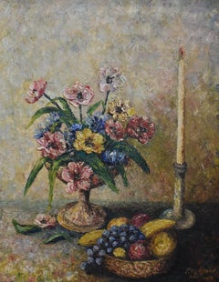 """Still Life with Flowers and Fruit Bowl Howard Hughes VP Huges internation Tool"