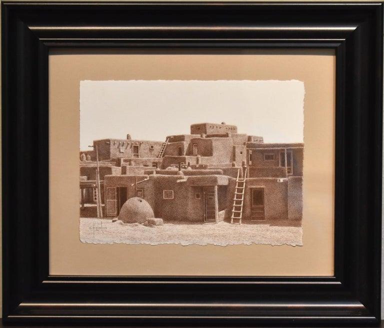 "Steve Forbis Landscape Art - ""Taos Skyline""  Fantastic Colored Pencil Drawing.  Taos Pueblos"