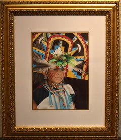 """Peaceful Moment"" Traditional Native American Indian in Headress"