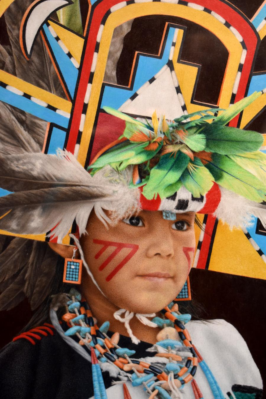 """""""Peaceful Moment"""" Traditional Native American Indian in Headress"""