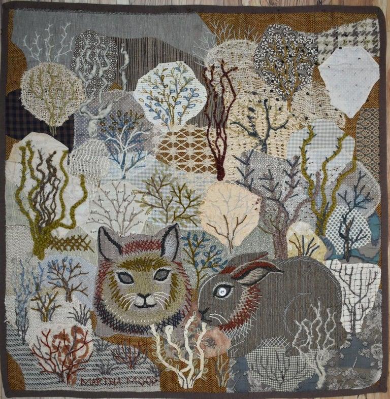 """Cat and Rabbit"" Original Stitchery MCM Mid Century Modern - Art by Martha Mood"
