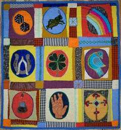 """Good Luck"" MCM Mid Century Modern Luck Items Tapestry    Texas Artist"