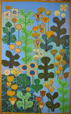 """Yellow Flowers"" MCM Mid Century Modern Tapestry Large   Texas Artist"