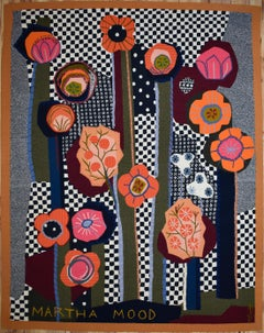 """""Floral, Black, White & Orange"" MCM Mid Century Modern Tapestry  Texas Artist"