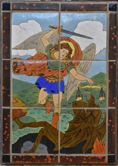 """SCENIC ART TILE TABLE"" San Jose Pottery St. Michael the Archangel San Jose Tile"