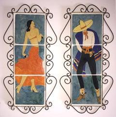 SAN JOSE SCENIC ART TILES.  PAIR FLAMENCO DANCERS.  CIRCA 1930S