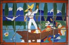 """SCENIC ART TILE TABLE"" San Jose Pottery San Jose Tile"