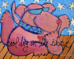 """Cool Dog in Stars"" Bright Pop Animal Painting"