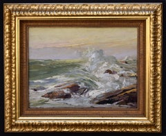 """Crashing Waves"" Impasto Oil Painting GALVESTON TEXAS SEASCAPE"