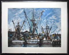"""SHRIMP BOATS"" TEXAS WATERCOLOR MID CENTURY GALVESTON, SMITH POINT, PALACIOS"