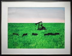 """ANGUS AND PUMPJACKS"" TEXAS WATERCOLOR MID CENTURY"