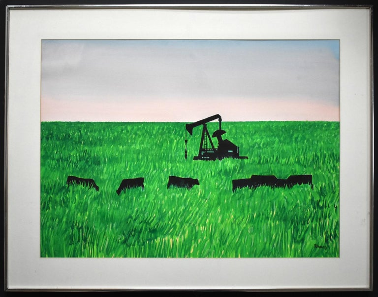 """Michael Frary Landscape Art - """"ANGUS AND PUMPJACKS"""" TEXAS WATERCOLOR MID CENTURY"""