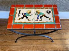 """COCK FIGHT""  SAN JOSE TILE TABLE 1940S"