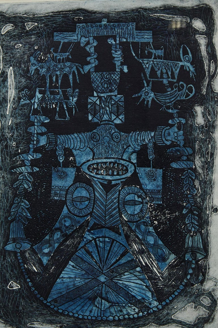 Abiku Spirit - Gray Figurative Print by Bruce Onobrakpeya