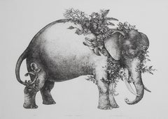 Camouflaged Elephant original lithograph 1975