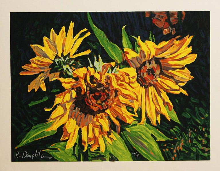 Sunburst by American artist Robert Daughters is a close up of a group of wild sunflowers in yellows and greens. A limited edition print number 62 out of 165. In excellent condition and published by Aspen Mountain Graphics. Paper size 14 x 18