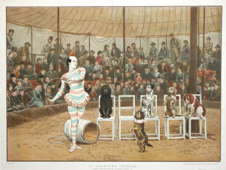 This spectacular chromolithograph  by the English illustrator and painter Charles Green (1842-1909) shows the clown and his performing troupe of talented dogs in a circus tent with a large audience enjoying the show. The coloring and the mood is
